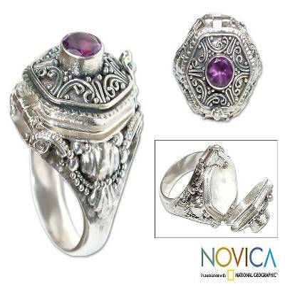 Amethyst locket ring, 'Secret Flame' - Amethyst and Sterling Silver Locket Ring