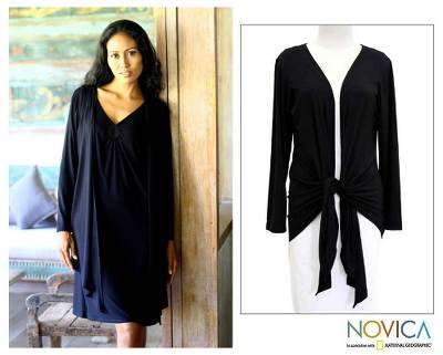 Modal wrap top, 'Chic in Black' - Modal wrap top