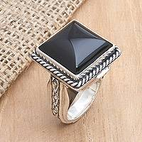 Onyx cocktail ring, 'Sensational' - Fair Trade Onyx and Sterling Silver Cocktail Ring