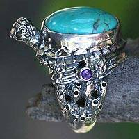 Men's amethyst ring, 'Blue Turtle' - Men's Sea Life Turquoise and Silver Ring