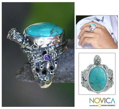 Men's amethyst ring, 'Blue Turtle' - Men's Reconstituted Turquoise and Silver Ring