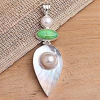 Cultured pearl and green turquoise pendant, 'Angel Voice' - Cultured pearl and green turquoise pendant