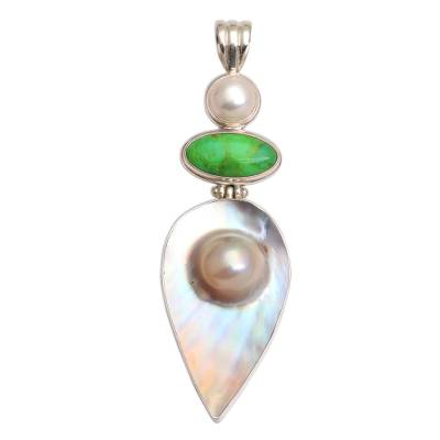Pearl and green turquoise pendant