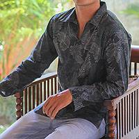 Men's cotton batik long sleeve shirt, 'Tropic Breeze'