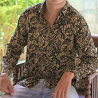 Men's cotton batik long-sleeve shirt, 'Autumn Night' - Men's Cotton Batik Shirt
