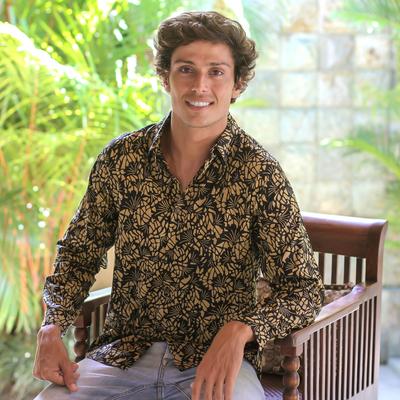 Men's cotton batik long-sleeve shirt, 'Autumn Night' - Men's Cotton Batik Shirt