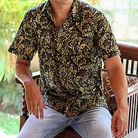 Men's cotton batik short sleeve shirt, 'Autumn Night'