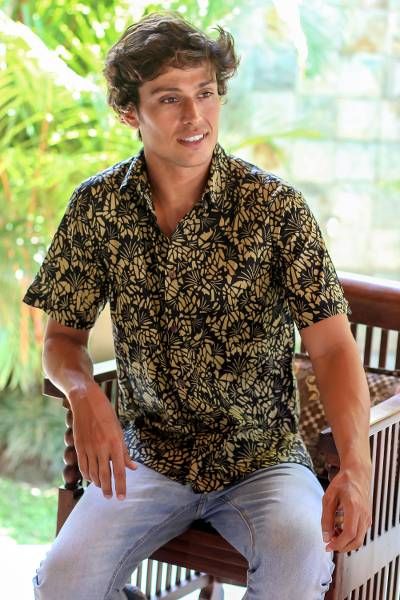 Men's cotton batik short sleeve shirt, 'Autumn Night' - Men's Batik Cotton Shirt