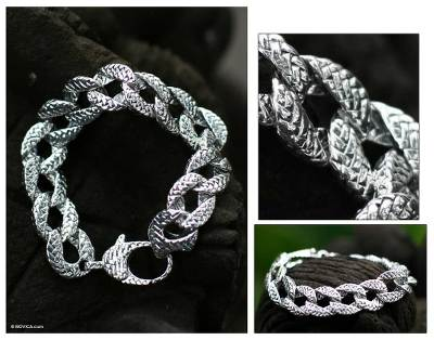 Sterling silver link bracelet, 'Circle of Braids' - Women's Sterling Silver Link Bracelet from Indonesia