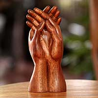 Wood sculpture, 'Friendly Post' - Handcrafted Friendship Suar Wood Sculpture