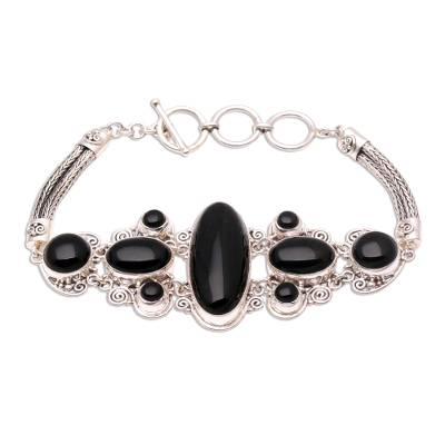 Sterling Silver and Onyx Bracelet from Indonesia