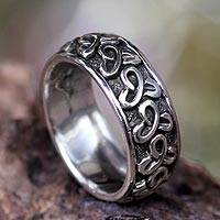 Men's sterling silver band ring, 'Memories' - Handcrafted Sterling Silver Men's Ring