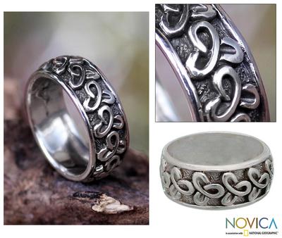 Men's sterling silver band ring, 'Memories' - Men's Sterling Silver Band Ring