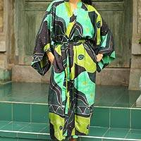 Women's batik robe, 'Emerald Birds'