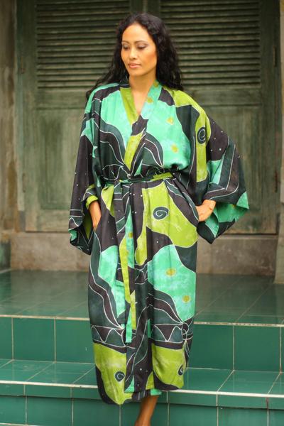 Women's batik robe, 'Emerald Birds' - Women's Fair Trade Batik Robe