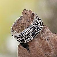 Sterling silver spinner ring, 'Knots' - Artisan jewellery Sterling Silver Band Ring