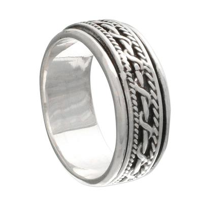 Sterling silver spinner ring, 'Knots' - Artisan Jewelry Sterling Silver Spinner Ring