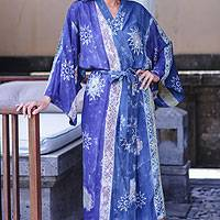 Women's batik robe, 'Blue Baliku' - Women's Hand Made Batik Robe