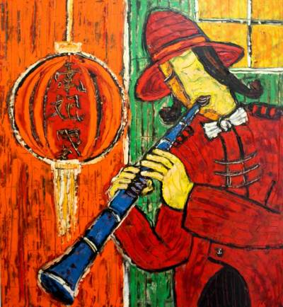 chinese new year 2009 indonesian expressionist painting - Chinese New Year 2009