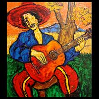 'My Old Guitar' (2009) - Indonesian Oil Painting