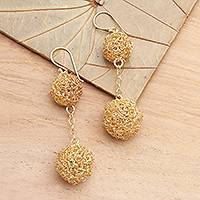 Gold plated dangle earrings, 'Topiary' - Gold plated dangle earrings