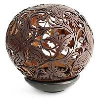 Coconut shell sculpture, 'Beautiful Butterflies' - Coconut shell sculpture