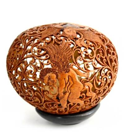 Hand Made Romantic Coconut Shell Sculpture
