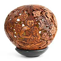 Coconut shell sculpture, 'Buddha' - Coconut Shell Sculpture from Indonesia