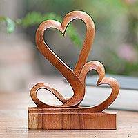 Wood sculpture, 'Two Hearts'
