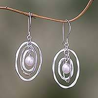 Cultured pearl dangle earrings, 'Oval Orbits' - Pearl dangle earrings