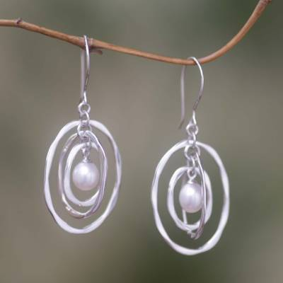 Cultured pearl dangle earrings, 'Oval Orbits' - Cultured pearl dangle earrings