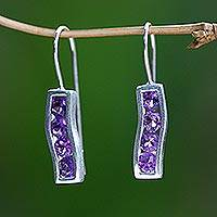 Amethyst drop earrings, 'Ribbon' - Amethyst and Sterling Silver Drop Earrings