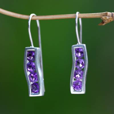 Amethyst drop earrings, 'Ribbon' - Amethyst and Sterling Silver Drop Earrings