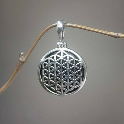Sterling silver and wood pendant, 'Flower of Life' - Sterling Silver and Wood Pendant