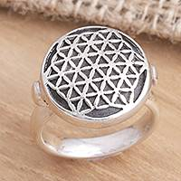 Sterling silver and wood cocktail ring, 'Flower of Life' - Sterling Silver Signet Ring from Indonesia
