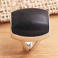 Ebony cocktail ring, 'Earth's Wisdom' - Wood and Silver Cocktail Ring