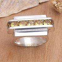 Citrine cocktail ring, 'Modern Original' - Citrine cocktail ring