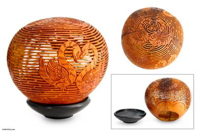 Coconut shell sculpture, 'Swan Love Song' - Coconut Shell Sculpture from Indonesia