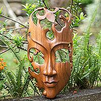 Wood mask, 'Lover' - Fair Trade Wall Sculpture from Bali and Java