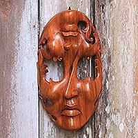 Wood mask, 'Joy and Sorrow' - Unique Modern Wood Mask