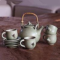 Ceramic tea set, 'Rainforest Cheer' - Ceramic tea set