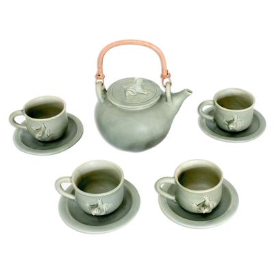 Ceramic tea set, 'Rainforest Cheer' - Ceramic tea set