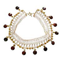 Pearl and chalcedony choker, 'River Princess' - Pearl and chalcedony choker