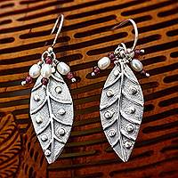 Pearl and garnet dangle earrings, 'Leaves in Dew' - Pearl and garnet dangle earrings