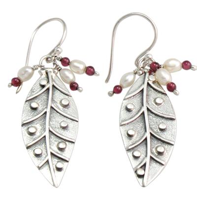 Pearl and garnet dangle earrings, 'Leaves in Dew' - Pearl and garnet dangle earrings