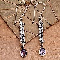 Amethyst dangle earrings, 'Bali Birthright'