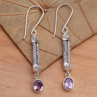 Amethyst dangle earrings, 'Bali Birthright' - Amethyst Sterling Silver Dangle Earrings