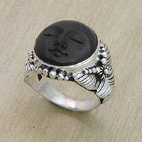 Ebony cocktail ring, 'Amun Ra' - Handcrafted Ebony and Silver Ring from Indonesia