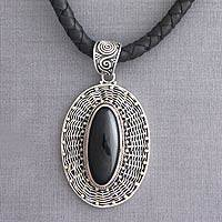 Leather and onyx pendant necklace, 'Queen' - Hand Crafted Sterling Silver and Onyx Necklace