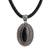 Leather and onyx pendant necklace, 'Queen' - Hand Crafted Sterling Silver and Onyx Necklace thumbail